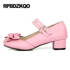 Mary Jane 2017 Ladies Bow Pink Big Size Cute High Heels Strap Chunky Round Toe 11 43 Sweet Lolita Shoes Low 4 34 Korean Pumps #Affiliate