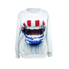 Womens Ladies Girl 3D Big Mouth Thick Lips Print Printed Top Jumper Sweatshirt Sport Suit Free Size: Amazon.co.uk: Clothing