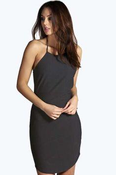 Dee Crepe Cutaway Neckline Bodycon Dress at boohoo.com