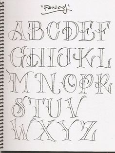 """Fancy"" Hand Lettered Capitals. I enjoy the whimsical, garden-inspired feel of these letters. They look like I would expect to find them in a fairy story book."