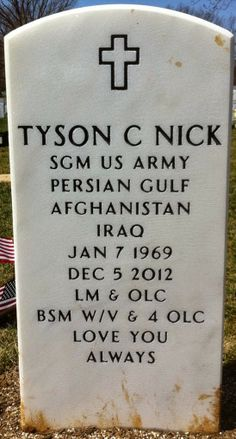 Tombstone Tuesday Military Memories: Army Sergeant Major Tyson C. Nick, 1969-2012 #genealogy #familyhistory #militarymemories