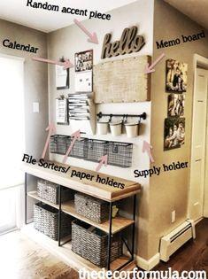 Home Office Design, Home Office Decor, Diy Home Decor, Room Decor, Wall Decor, Organization Station, Home Office Organization, Family Organization Wall, Printable Organization