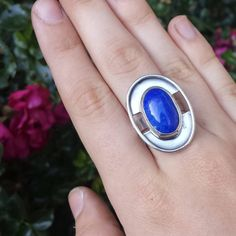 @metalbye Sterling silver and Lapis modern Danish-inspired ring. Also, how awkward are hands to photograph? $65 shipped. #rings #ring #sterling #sterlingsilver #handmade #metalsmith #silversmith #silver #showmeyourrings #sterlingring #instasmithy #instasmith #makersmovement #riogrande #metal #jewelry #jewelrygram #handmadejewelry