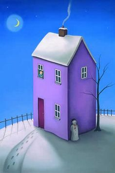 Paul Horton artworks ★ Up to off selected Contemporary prints, paintings, pictures Paul Horton, Art Populaire, Purple Christmas, House Drawing, Naive Art, Expo, Whimsical Art, Drawing For Kids, Little Houses