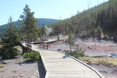 Things to do in Yellowstone- walk along the boardwalk trail of Artist's Paintpot.