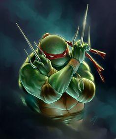 Raph fan art by Roveink is shell-shockingly good. Classic Cartoon Characters, Classic Cartoons, Ninja Turtles Art, Teenage Mutant Ninja Turtles, Turtles Forever, Cartoon Turtle, Renaissance Artists, Hero Arts, Tmnt
