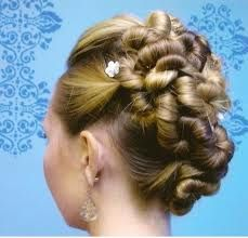 a wedding hairstyle, using twists.