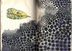 """Leaf, Alone"", journal page by Ines Seidel"