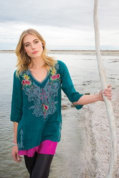 Johnny Was Collection Fall 2015 Look Book featuring the Mendi Blouse in Blue Emerald