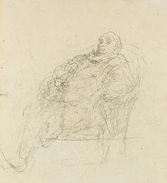 Honoré Daumier 1810 - 1879 HOMME ASSIS DANS UN FAUTEUIL, ÉTUDE POUR UN AUDITEUR OU POUR LE MALADE IMAGINAIRE pen and ink and pencil on paper 27.2 by 22.3cm