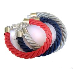 Items similar to navy blue, coral red, grey - 3 satin rope nautical bracelets - set, friendship bracelets on Etsy Coral Accents, Coral Navy, Nautical Bracelet, Nautical Rope, Pretty Necklaces, Red And Grey, Gray, Friendship Bracelets, Rope Bracelets