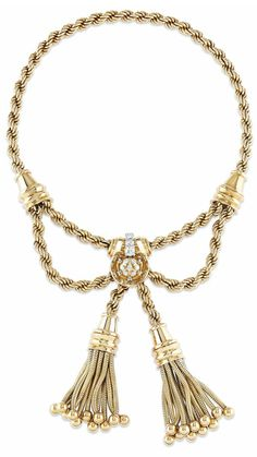 A RETRO GOLD AND DIAMOND NECKLACE, BY BOUCHERON.  Designed as a gold rope stylized collar enhanced at the front by a diamond-set panel suspending two gold tassels with bead terminals, 1946, inner circumference 36.3 cm, with French assay mark for gold  Signed Boucheron Paris, no. 57.560
