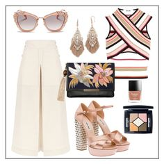 """""""Summer #44 - """"Cropped Lanai Culottes"""""""" by sammers-i on Polyvore featuring Miu Miu, Temperley London, MSGM, Lizzie Fortunato, Theia Jewelry and Christian Dior"""