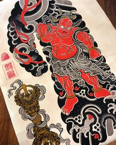 เพัด Japanese Tattoo Symbols, Japanese Tattoo Art, Raijin Tattoo, Body Art Tattoos, Tatoos, Japan Tattoo, Irezumi, China Fashion, Tattoo Designs Men