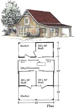 horse barn layout.  cute.  loft for hay.  could have 2 stalls and a tack/feed room.