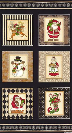 """Holly Jolly - North Pole Patch - Black - 24"""" x 44"""" PANEL"""