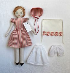 Image of Eliza Bosom Doll in red ticking