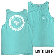 Zeta Lagoon Blue Comfort Colors Pocket Tank