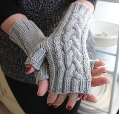 Wool Cable Knit Fingerless Gloves for Her by TinkerCreekHandknits