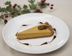 Raw Pumpkin Pie with Mocha Syrup and Nutmeg Cream