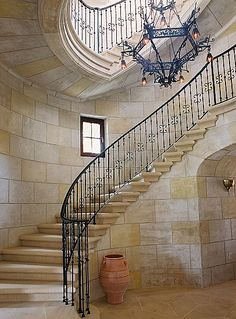 Wrought iron stair railing and rustic chandelier - BEAUTIFUL! Wrought Iron Stair Railing, Stair Handrail, Railings, Grand Staircase, Staircase Design, Staircase Ideas, Stair Idea, Staircase Remodel, Deck Stair Lights
