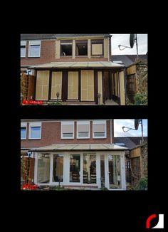 Naast de garagepoort, voordeur en kozijnen aan de voorzijde, hebben wij ook de achterzijde  van het woonhuis onder handen genomen. Oude bruine kunststof kozijnen en garage poort op locatie gespoten in ral 9003 wit. Wat een verschil! #Spuitwerk #Spuiterij #Interieurspuiterij #Meubelspuiterij #Schadeherstel #Bedrijven #oplocatie #Parkstad #Heuvelland #Limburg # #woonhuis #kozijnen #ramen #ruiten #serre #Garage #deur #voordeur