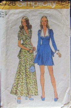 1a955637695a8 Simplicity 5728 1970s Misses Dress Sewing Pattern Size 12 Bust 34