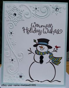 CHRISTMAS-CARD-KIT-STAMPIN-UP-034-FROSTY-034-SNOWMAN-SNOWFLAKES-HANDMADE
