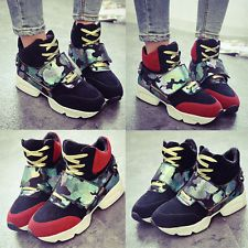 Camouflage Splice Women High-top Sports Sneaker Shoes Velcro Rivet Platform Boot