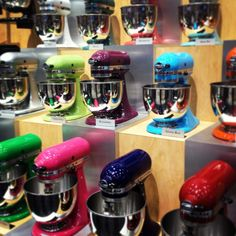 "#rainbow of Kitchen Aid Mixers #IHHS13  One of the best purchases we ever made was our Kitchen Aid Mixer ""pro"" in black. I love all these color choices now."