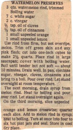 Recipe Clipping For Watermelon Preserves