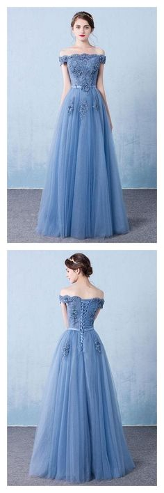 Simple Prom Dresses, Blue tulle lace off shoulder long prom dress, bridesmaid dress From petite prom dress styles to plus size prom dresses, short dress to long dresses and more,all of the 2020 prom dresses styles you could possibly want! Blue Evening Dresses, Prom Dresses Blue, Prom Party Dresses, Trendy Dresses, Homecoming Dresses, Dress Party, Evening Gowns, Pageant Dresses, Evening Party