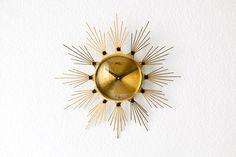 Vintage West German wall clock brass starburst by MightyVintage