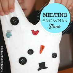 Melting Snowman Slime Winter Sensory Play. Winter science activity for kids. STEAM inspired play.