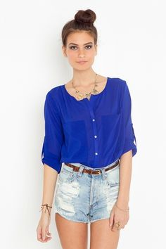 Bright On Blouse - Cobalt  $58.00