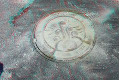 """300 Ocean Drive - Miami Beach Art in Public Places - Art Deco storm water manhole cover. Google """"anaglyph glasses"""" to view in 3D!"""