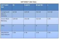 SAP HANA Central : SAP HANA T-Shirt Size - Which Size Fits Your Requirements?