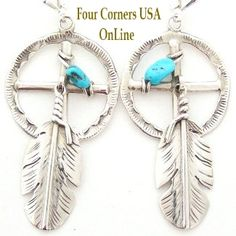 Four Corners USA Online - Medicine Wheel Sterling Silver Leverback Earrings with Turquoise and Feathers Navajo Ben Begay, $120.00 (http://stores.fourcornersusaonline.com/medicine-wheel-sterling-silver-leverback-earrings-with-turquoise-and-feathers-navajo-ben-begay/)