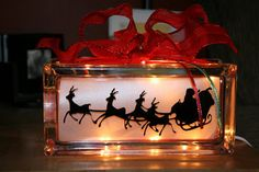 Santa's Sleigh lighted glass block made by Aubrey Beckwith (Around the Block) Painted Glass Blocks, Decorative Glass Blocks, Lighted Glass Blocks, Christmas Glass Blocks, Christmas Signs, Christmas Ideas, Christmas Wood, Homemade Christmas, Christmas 2019