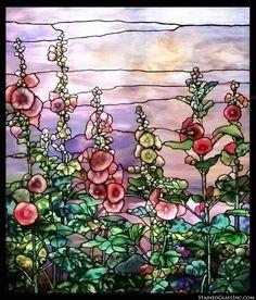 """""""Tiffany Hollyhocks"""" Stained Glass Window"""