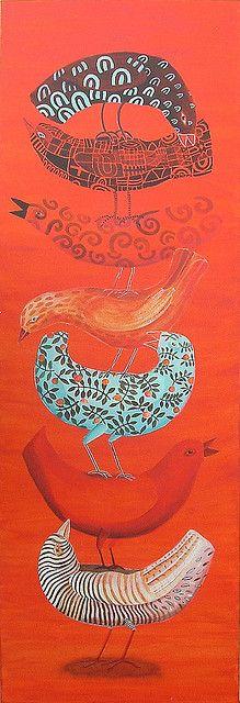 BirdsOf AFeather (by cate edwards) Bird Quilt, Orange Art, Bird Illustration, Teaching Art, Bird Art, Oeuvre D'art, Bird Feathers, Pet Birds, Folk Art