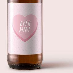 Printable Beer Be Mine Valentines Day Label Gift by BeerlyBeloved