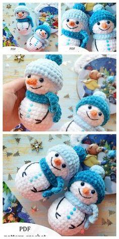 Crochet Snowman, Crochet Ornaments, Crochet Crafts, Yarn Crafts, Crochet Projects, Wood Crafts, Diy Crafts, Crochet Amigurumi Free Patterns, Crochet Animal Patterns