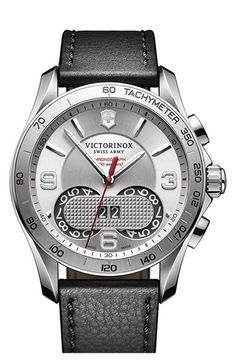 Victorinox Swiss Army® Chronograph Leather Strap Watch, 41mm