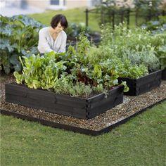 like the garden boxes painted black, Patio Garden, Garden, Herb Garden, Urban Garden, Potager Garden, Outdoor Gardens, Dream Garden, Garden Landscaping, Vegetable Garden Raised Beds