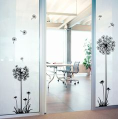 Hot preto dandelion sala de estar quarto adesivos de parede adesivos de parede na parede adorno doméstico