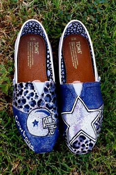 Glitter Dallas Cowboy TOMS by Something2Braggabout on Etsy, $110.00