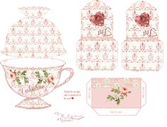 Free-printable Tea Cup Card and Teabag covers Valentine Card Kit