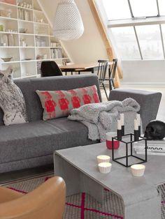 Grey interior, neon pink accents (Hege Greenall-Scholtz)