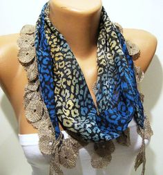 Leopard and Blue Elegance Shawl / Scarf with Lace by SwedishShop, $13.90